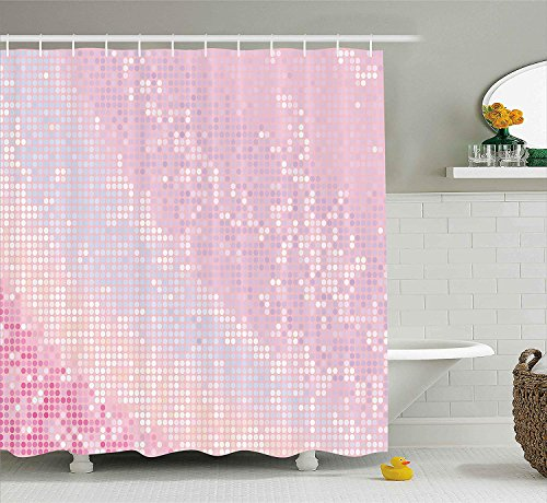 BUZRL Modern Shower Curtain, Abstract Pattern in Pastel Pink Tones Retro Disco Style Party Theme Artwork, Cloth Fabric Bathroom Decor Set with Hooks, 66x72 inches, Pale Pink Baby Pink (Halloween Cake Walk)