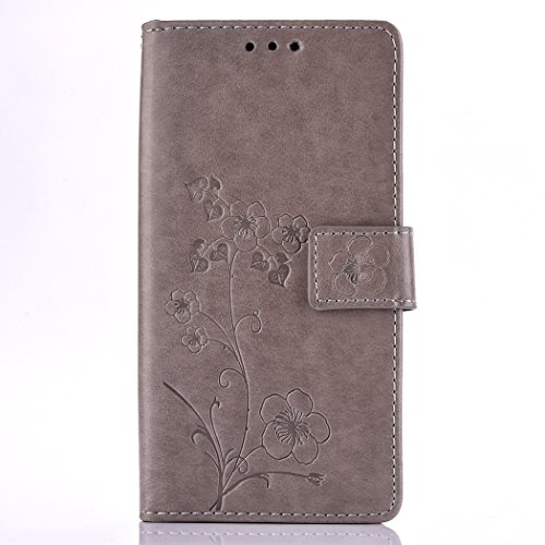 Alcatel One Touch Pixi 3 3,5 Hülle,Alcatel One Touch Pixi 3 3,5 Tasche,Alcatel One Touch Pixi 3 3,5 Schutzhülle,Alcatel One Touch Pixi 3 3,5 Leder Cover,Cozy Hut Alcatel One Touch Pixi 3 3,5 Hülle Leadertasche Premium Lederhülle Flip Case im Bookstyle Folio Cover Kartenfächer Magnetverschluss und Standfunktion Leder Schale Etui für Alcatel One Touch Pixi 3 3,5 Zoll Handytasche Grau Schutzhülle mit Plum Blume Muster - Grau