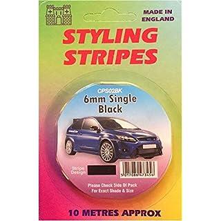 Castle Promotions Styling Coachline Black Pin Stripe Single 6mm 10 Metres Long Black Tape