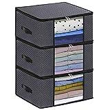 homyfort Set di 3 Pieghevole organizzatore Armadio - scatole Armadio in Tessuto - Sacchetto di Vestiti Bagagli per la memorizzazione di Abbigliamento, Piumini, 50 x 40 x 25 cm, Grigio Scuro, X3GR50S