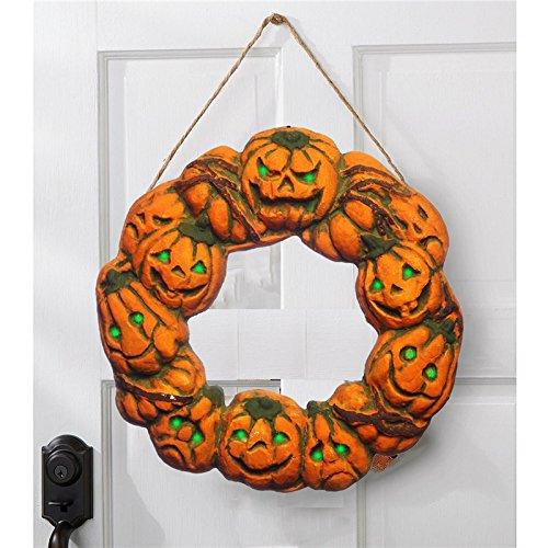 (wuchance Halloween Spuk Kranz LED Laterne LED Kürbis Licht Türhänger Home Decor)