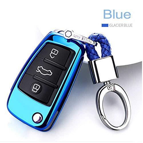 SUNQQB 3 Tasten Falten TPU Soft case für Audi a1-a7 tt q3 q5 q7 r8 s6 s7 s8 sq5 rs5 künstliche kristall anhänger Waven schlüssel Shell Cover,Blue,Metal snap Cover Blue Snap