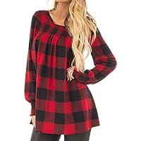 IMJONO Damen Women Langarm Plaid Print Sweatshirt Pullover Tops Bluse Hemd