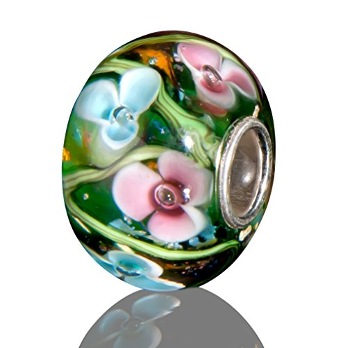 Andante-Stones 925 Sterling Silber Glas SEALIFE Bead Charm (Smaragdgrün mit rosa und hellblauen Blumen) Element Kugel für European Beads + Organzasäckchen