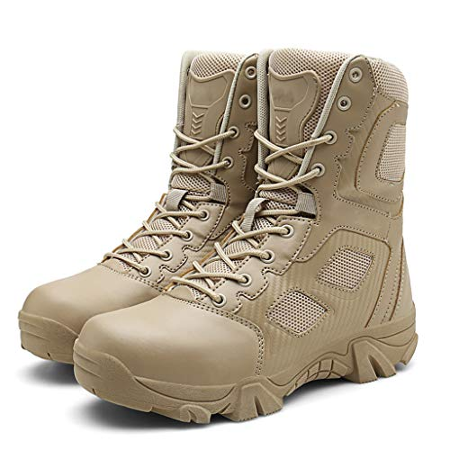 ZzWwYy Bekämpfung der Männer Militär Hoch-Spitze Boots Tactical Boots Schnürschuhe All Terrain Schuhe Wandern Jagd Arbeiten Gehen Anti-Rutsch-Reißverschluss Schuhe,Sand,42 -