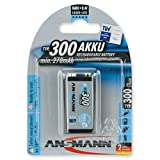 ANSMANN wiederaufladbar LSD Akku Batterie geringe Selbstentladung 9V E-Block 300mAh maxE NiMH vorgeladen sofort einsatzbereit hohe Kapazität ready to use