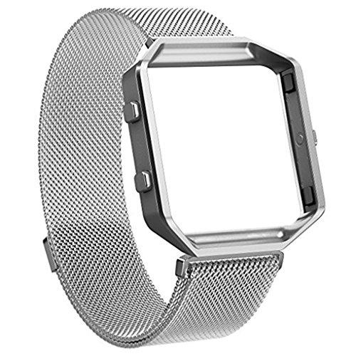 Providethebest Edelstahl-Armband Ersatz Blacelet Kette Intelligente magnetische Schleife Uhr-Gurt-B¨¹Gel mit Rahmen f¨¹r Fitbit Silber