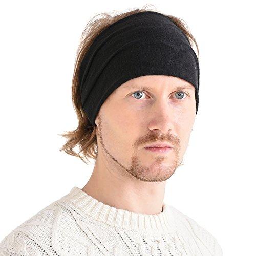 Casualbox Leinen Kopf Band Bandana natürlich elastisch Haarband Sport Mode Wickeln Schwarz (Schwarz Auf Schwarz Bandana)