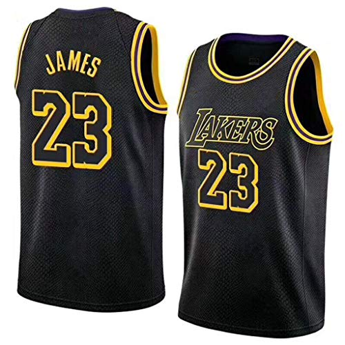 Oquta Lebron James at LA Lakers #23 Basketball Jersey,Yellow Black White Purple,xs to XXL (James White Jersey Lebron)