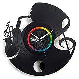 Musique Jazz idée cadeau, horloge en vinyle avec pendule, noir vinylyse original