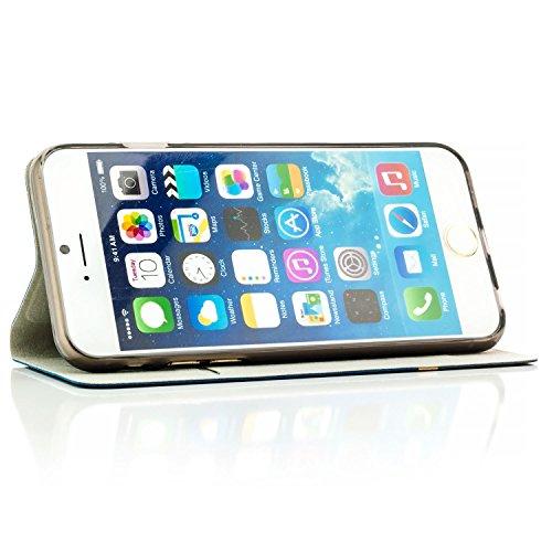 Coque iPhone 6 Plus / 6S Plus [zanasta Designs] Housse Etui Ultra Mince Case Flip Cover avec Poche intérieur Wallet Haute qualité Gris Bleu