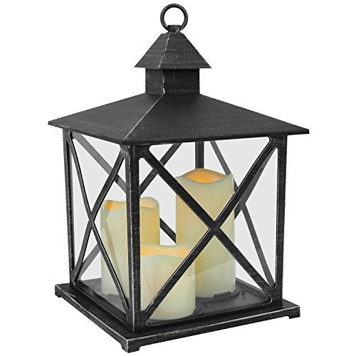Dekorative Laterne H38cm mit 3 LED Kerzen Flacker-Effekt Windlicht Gartenlaterne Gartendekoration - Schwarz
