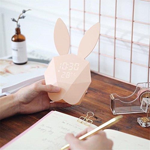 Wecker Kreativ Schläfrig Kleine Nachtlicht Musik Sprachsteuerung Kind LED Gebühr Nachttischlampe Rosa Blau Süß Weihnachtsgeschenk Mini,Pink (Musik Wecker, Klein)