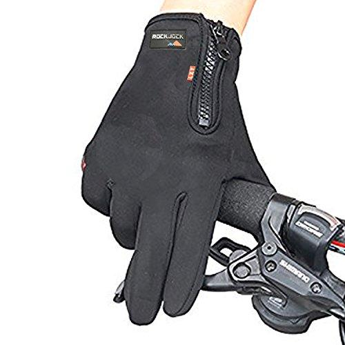 ROCKJOCK Unisex Herren Damen Sport Radfahren Greifer Touchscreen Handschuhe mit Reißverschluss (Reißverschluss Greifer)