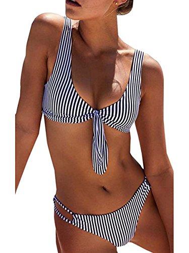 Summer Mae Damen Bikini Set Streifen Zweiteiler Bademode mit Schleife Blau L