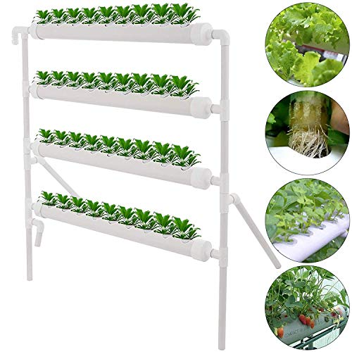 TOPQSC 4 Layers 36 Plant Sites Hydroponic Site Grow Kit 4 Pipes Vertical  Pipeline Hydroponic Growing System Water Culture Garden Plant System For  Home