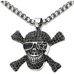 Gran calavera pirata para collar con circonita.