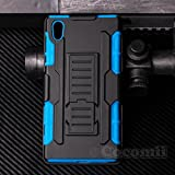 Cocomii Robot Armor Sony Xperia Z5 Funda NUEVO [Robusto] Superior Funda Clip Para Cinturón Soporte Antichoque Rígido Caja [Militar Defensor] Cuerpo Completo Doble Capa Sólido Case Carcasa | NEW [Heavy Duty] Premium Belt Clip Holster Kickstand Shockproof Hard Bumper Shell [Military Defender] Full Body Dual Layer Rugged Cover for Sony Xperia Z5 (R.Blue)