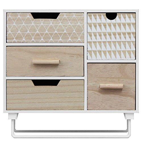 Fünf Schubladen Schrank (Mini Schrank mit 5 Schubladen 30x29x10cm Schmuckschrank Badezimmerschrank Badschrank Schmuckbox Organizer für Bad Büro Haushalt)