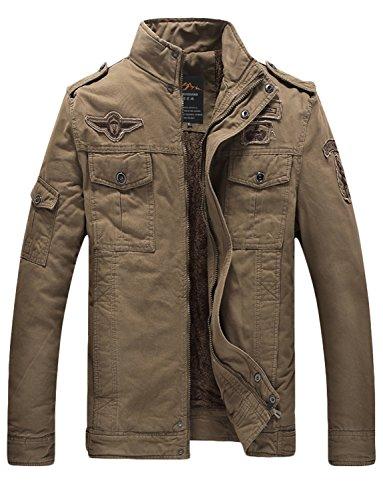 BELLOO Winter Heren Übergangsjacke Feldjack aus 100% Baumwolle,Khaki,3XL (Safari-jacke-khaki)