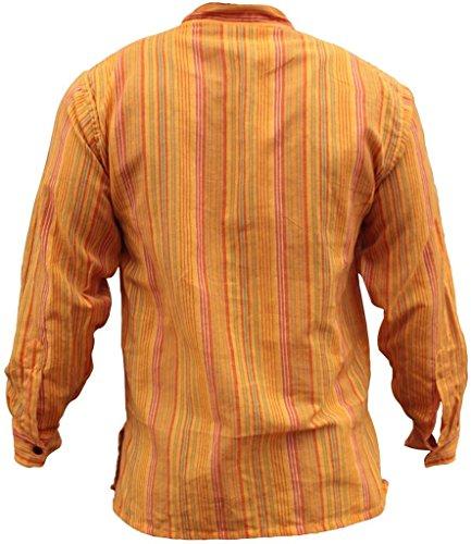SHOPOHOLIC FASHION Herrem Streifen Hippie Großvater Shirt Gelb