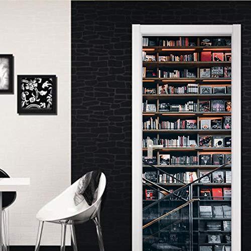FCFLXJ3D Tür Aufkleber Regal Poster Wandbild Tapete Stereo Home Hintergrund Schlafzimmer Tür Dekoration selbstklebend PVC selbstklebend Stereo er 77x200cm -