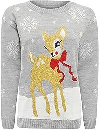 Crazy Girls Verrückte Mädchen Frauen Festliche Neuheit Frohe Weihnachten Gestrickte Pullover Damen Weihnachtsbaum Vintage Warme POM POM Rentier Jumper EU 36-220