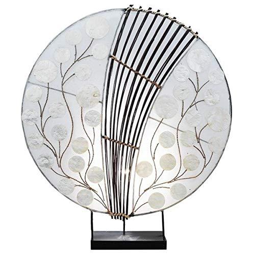 Tischlampe PIU rund, Natur-Material, Durchmesser ca. 40 cm, Stimmungsleuchte