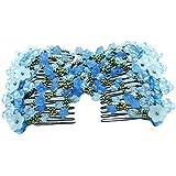 Contever® Peinados Extensibles Dobles Peines Floral Estilo apoyo de la Mujer Fiesta Boda Viaje Fotografía (Azul)