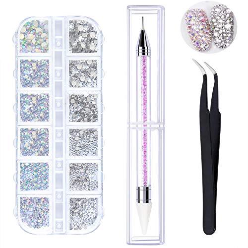 LATERN 1500 Stück AB Crystal Nail Art Strasssteine   und Clear Crystal Strasssteine   6 Größen (1,5-3,8 mm) mit Pick Up Pinzette, Strass Picker Dotting Pen