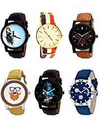 NIKOLA Brand New Analogue Mahadev Beard Style Black Blue And Brown Color 6 Watch Combo (B22-B50-B31-B54-B23-B56...
