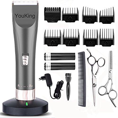 YouKing Hair Clippers, Low Noise Cordless Kinder Grooming Clippers und Haarschneider für Männer und Baby, 2 wiederaufladbare Batterien, 8 Kämme (grau)