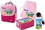 Mein Zwergenland Set 5 Kindergartenrucksack mit Brotdose, Turnbeutel aus Baumwolle und Trinkflasche Happy Knirps Next mit Name Traktor, 4-teilig, Pink
