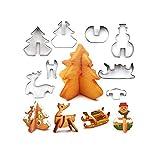 3D Weihnachten Ausstechformen Set, Lieblings Urlaub Formen mit Hirsch, Schneemann, Weihnachtsbaum und Schlitten – 8 Stück