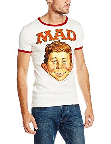 Logoshirt Mad-Alfred E. Neumann, Chemise Casual Homme, Blanc-White (Almost White/True Red), Moyen