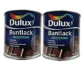 2 x 500ml Dulux Buntlack Seidenmatt für innen und außen 1 Liter Farbwahl, Farbe:Cuba Braun