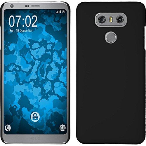 atibel mit LG G6 - Hülle schwarz gummiert Hard-case + 2 Schutzfolien ()