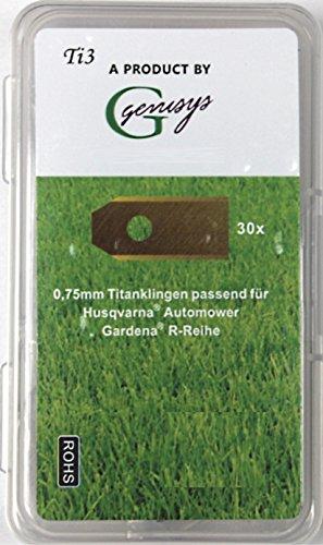 30x TITAN Ersatz Messer Klingen für Husqvarna Automower / Gardena Mähroboter (longlife   0,75 mm   3 g) + 30x ELOXIERTE Schrauben in der NEUEN wiederverschließbaren Hard-Box