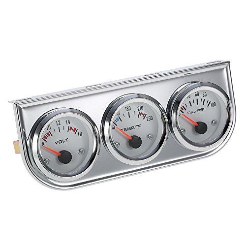 Docooler 3 in 1 Messgerät Kit tragbare Öldruck Celsius Wassertemperaturanzeige Voltmeter Chrome Auto Motorrad Meter 52 MM (Auto Voltmeter Messgerät)