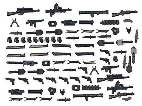 MAGMABRICK Magma Brick:Waffen Set im zweiten Weltkrieg für Großem Marken Bausteine Minifigur / Lego MOC. 88 Stück Hand Moc