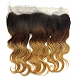 "12inch , 1b/4/27 : SHOWJARLLY 13"" X 4"" Ombre Blonde Brazilian Lace Frontal Closure Body Wave 3 Tone 1b/4/27 Free..."