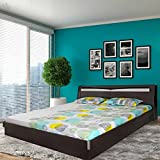 Royal Oak Barcelona King Size Bed with Storage (Melamine Finish, Black and White)