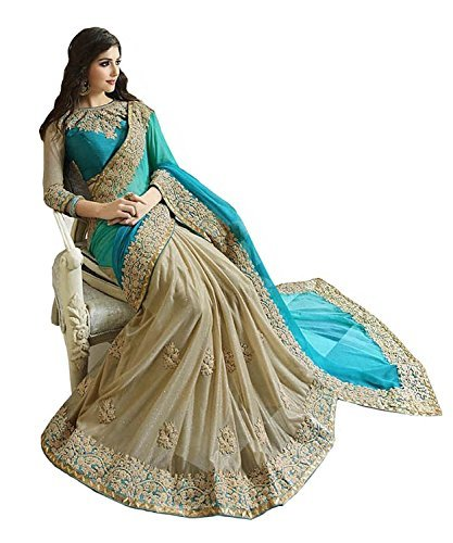 Bigben Women's Sky Blue Embroidery Georgette Lycra Designer Saree With Blouses