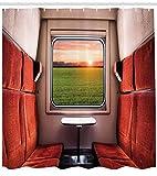 Abakuhaus Natur Duschvorhang, Fenster Eisenbahn Reise, Waserdichter Stoff mit 12 Haken Set Dekorativer Farbfest Bakterie Resistet, 175 x 200 cm, Rot-grüne Creme