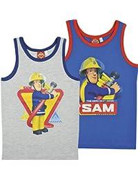 Feuerwehrmann Sam Jungen Unterhemden, 2er Pack, blau/grau