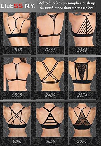 Club 55 PA0665 Set Sexy Damen Push-up BH und String-Tanga mit Macramé-Einsätzen und Vorderverschluss mit Schmuck von Lady Bella Lingerie Bh Schwarz