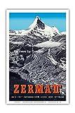 Zermatt, Schweiz - Matterhorn - Schweizer Alpen - Fliegen Sie mit Swissair - Vintage Retro Fluggesellschaft Reise Plakat Poster von Alfred Perren-Barberini c.1954 - Kunstdruck - 31cm x 46cm
