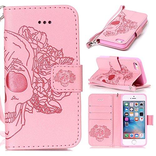 iPhone Case Cover Nouveau style pressé en relief fleurs Windchime motif rétro Folio Flip Stand Wallet affaire avec une dragonne pour IPhone 5S SE ( Color : 5 , Size : IPhone 5S SE ) 10