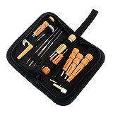 MagiDeal 11er/ Set Gitarre Reparatur Werkzeug Kit mit Aufbewahrungsbeutel - Hammer, Pinsel, Nussschlüssel, Holzstange, Sechskantschlüssel, usw.