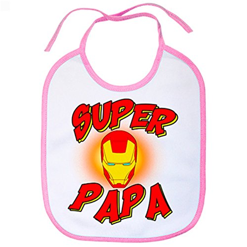 Babero Súper Papá Iron Man - Rosa